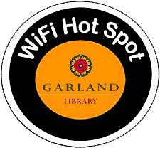 Garland Library WiFi logo black and orange circle with library logo in center