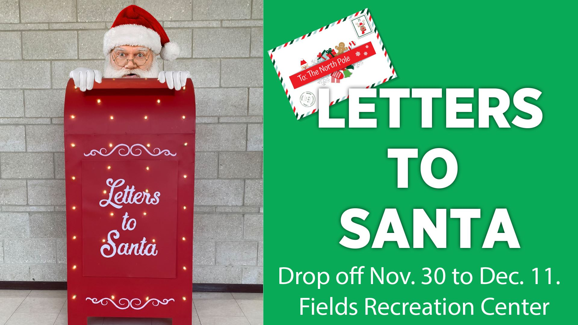 Letters to Santa graphic with santa and a red mailbox