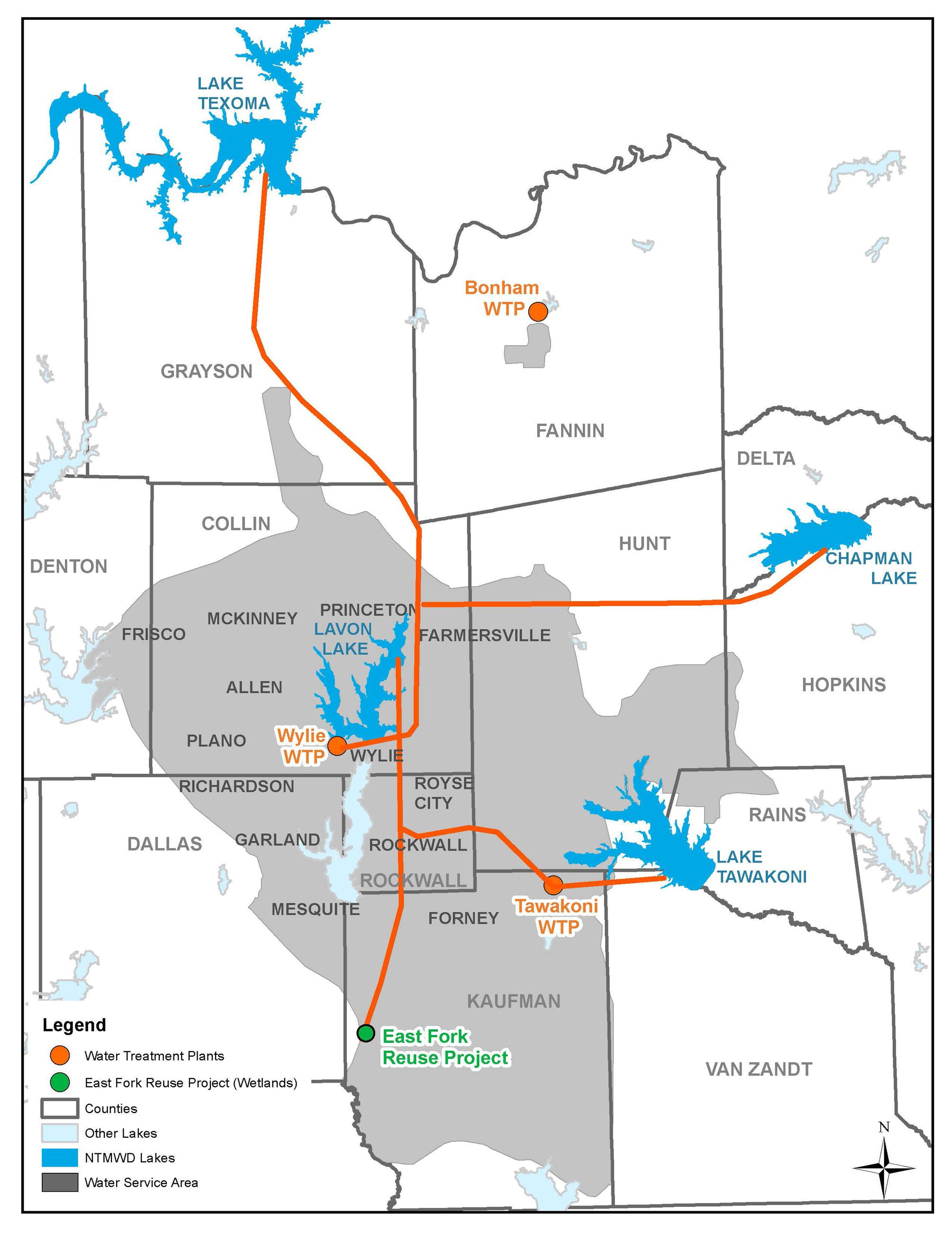 Map of the North Texas Municipal Water District (JPG) Opens in new window